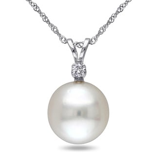 Miadora 14k White Gold South Sea Pearl Diamond Accent Necklace (9-10 mm)