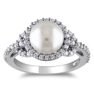 Miadora Sterling Silver Freshwater Pearl Cubic Zirconia Ring (8-9 mm) (More options available)
