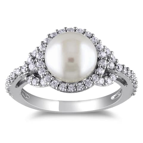Miadora Sterling Silver Freshwater Pearl Cubic Zirconia Ring (8.5-9 MM)