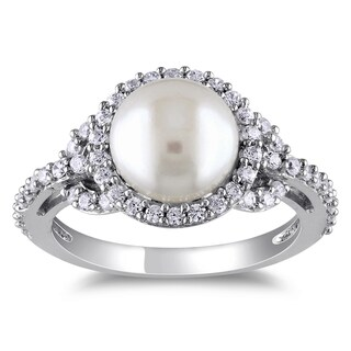 Miadora Sterling Silver Freshwater Pearl Cubic Zirconia Ring (8.5-9 MM) (More options available)
