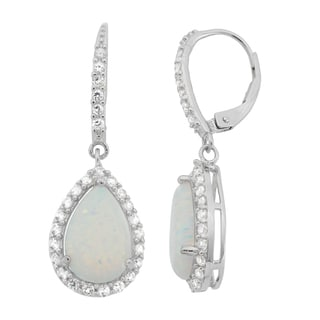 Gioelli Sterling Silver Created Opal Created White Sapphire Leverback Earrings