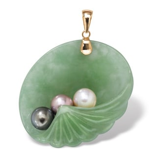 Jade and Pearl Shell Pendant in 14k Gold Naturalist