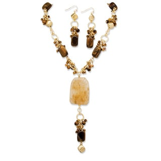 "PalmBeach Genuine Tiger's Eye and Quartz ""Y"" Necklace and Drop Earrings Two-Piece Set in Yellow Gold Tone Naturalist"