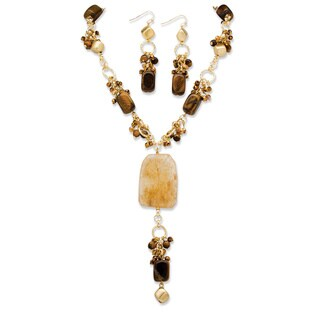 """Genuine Tiger's Eye and Quartz """"Y"""" Necklace and Drop Earrings Two-Piece Set in Yellow Gold"""