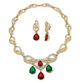 2 Piece Jewel-Tone Crystal Jewelry Set in Yellow Gold Tone Bold Fashion