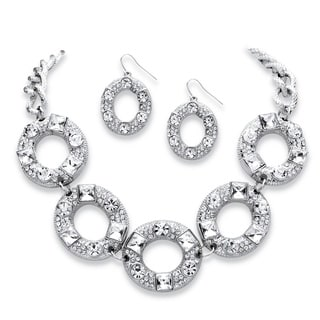 PalmBeach 2 Piece Crystal Circle Necklace and Earrings Set in Silvertone Bold Fashion