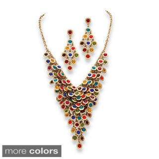 Multicolor or White Crystal Two-Piece Necklace and Earrings Set