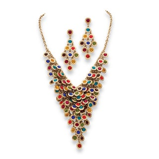 Multicolor or White Crystal Two-Piece Necklace and Earrings Set (Option: Multi Color)