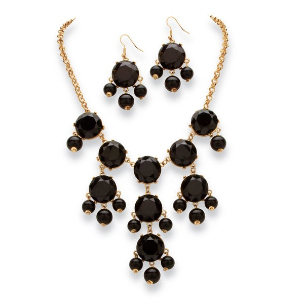2 Piece Black or Aqua Bubble Beaded Necklace and Earrings Set in Yellow Gold Tone Bold Fas