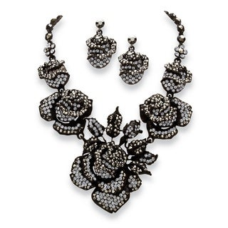 PalmBeach 2 Piece Grey Crystal Rose Necklace and Earrings Set in Black Rhodium-Plated Bold Fashion