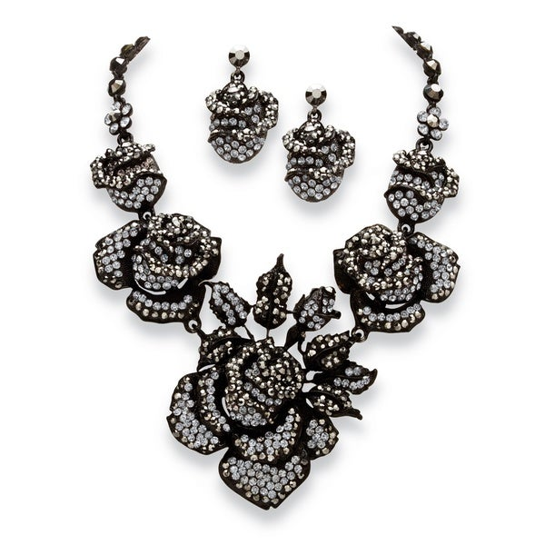 2 Piece Grey Crystal Rose Necklace and Earrings Set in Black Rhodium-Plated Bold Fashion
