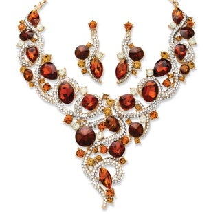 PalmBeach 2 Piece Amber Crystal Necklace and Earrings Set in Yellow Gold Tone Bold Fashion