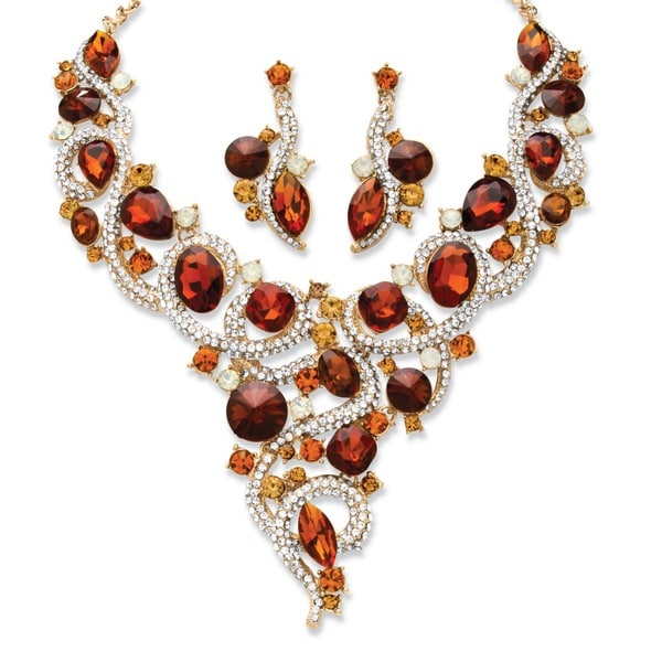 Gold Tone Crystal and Lucite Necklace and Earrings Set - Orange