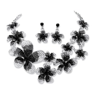PalmBeach 2 Piece Black and Grey Ombre Crystal Flower Bib Necklace and Earrings Set in Silvertone Bold Fashion