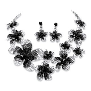 Black and Grey Ombre Crystal Flower Bib Necklace and Earrings Set