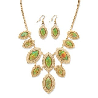 Marquise-Shaped Simulated Rainbow Abalone Necklace and Earrings Set in Yellow Gold Tone Bo
