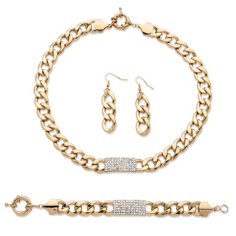 3 Piece Curb-Link Crystal I.D. Necklace, Bracelet and Drop Earrings Set in Yellow Gold Ton - White
