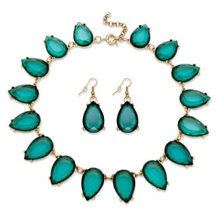 PalmBeach 2 Piece Teal Teardrop Necklace And Earrings Set In Yellow Gold Tone Bold Fashion