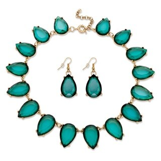 2 Piece Teal Teardrop Necklace And Earrings Set In Yellow Gold Tone Bold Fashion