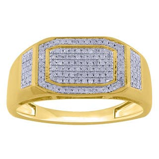 10k Yellow Gold Men's 1/3ct TDW Diamond Pave Ring|https://ak1.ostkcdn.com/images/products/9778326/P16948145.jpg?impolicy=medium