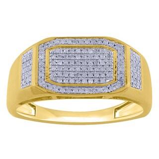 10k Yellow Gold Men's 1/3ct TDW Diamond Pave Ring