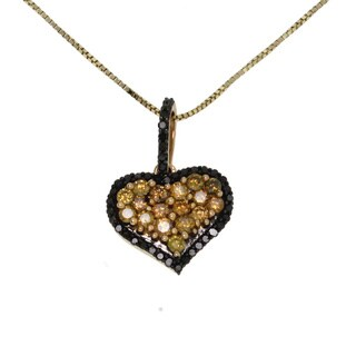 10k Yellow Gold 1/2ct TDW Yellow and Black Diamond Heart Necklace (I2-I3)
