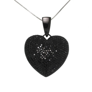 10k Black Gold 2 1/2ct TDW Black Diamond Heart Necklace