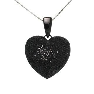 10k Black Gold 2 1/2ct TDW Black Diamond Heart Necklace