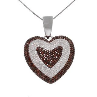 10k White Gold 2ct TDW White and Red Diamond Heart Necklace (G-H, I2-I3)