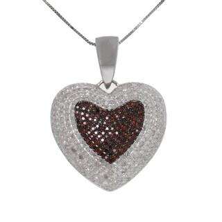 10k White Gold 2ct TDW Red and White Diamond Heart Necklace (G-H, I2-I3)