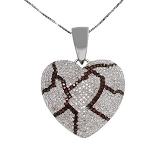 10k White Gold 2ct TDW White and Red Diamond Broken Heart Necklace