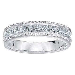 Amore Platinum 1/2ct TDW Diamond Milgrain Wedding Band