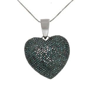 10k White Gold 2ct TDW Blue Diamond Heart Necklace