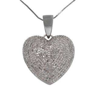 10k White Gold 2ct TDW Diamond Heart Necklace (G-H, I2-I3)