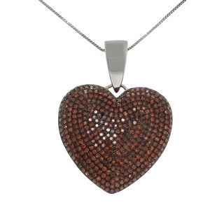 10k White Gold 2ct TDW Red Diamond Heart Necklace