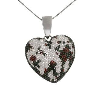 10k White Gold 2ct TDW White Blue and Red Diamond Heart Necklace (G-H, I2-I3)