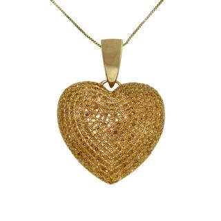 10k Yellow Gold 2ct TDW Yellow Diamond Heart Necklace