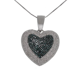 10k White Gold 2ct TDW White and Blue Diamond Heart Necklace