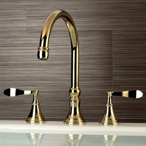 Modern Widespread Polished Brass Bathroom Roman Tub Faucet