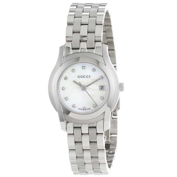 cdd04bfc304 Shop Gucci Women s YA055501  G-Class  Diamond-Accented Stainless Steel Watch  - Free Shipping Today - Overstock - 9778481