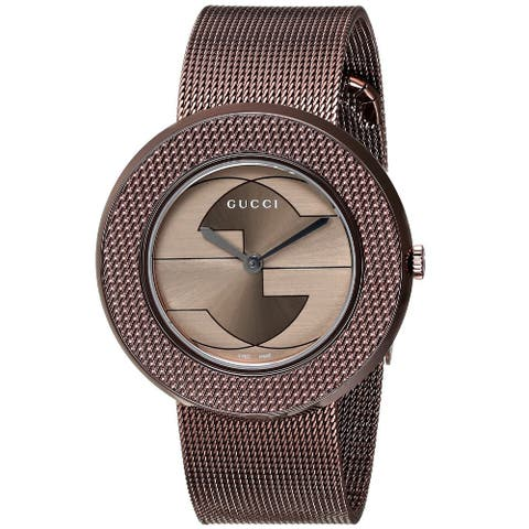Gucci Women's YA129445 'U-Play' Swiss Quartz Brown Stainless Steel Mesh Watch
