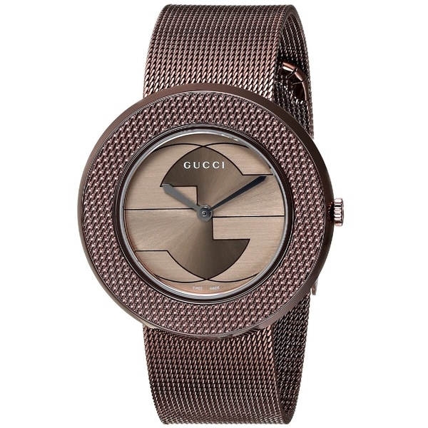 57ddc9700fa Shop Gucci Women s YA129445  U-Play  Swiss Quartz Brown Stainless Steel  Mesh Watch - Free Shipping Today - Overstock - 9778487