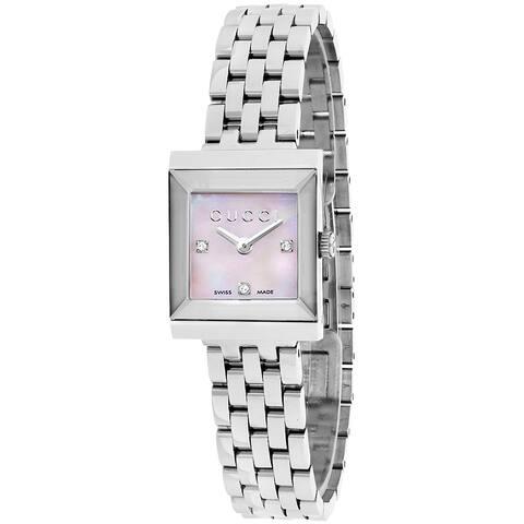Gucci Women's YA128401 'G Frame Timeless' Modern Square Shape Dress Stainless Steel Watch