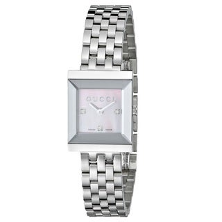 Gucci Women's 'G Frame Timeless' Modern Square Shape Dress Stainless Steel Watch