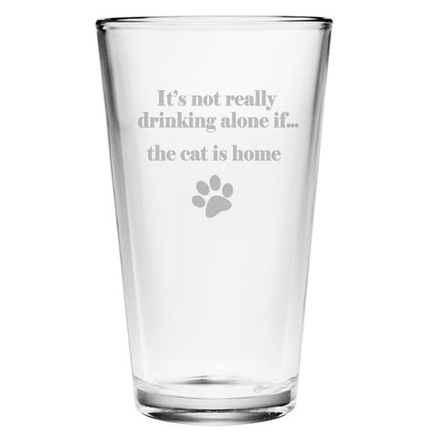 The Cat is Home 16-ounce Pint Glasses (Set of 4)