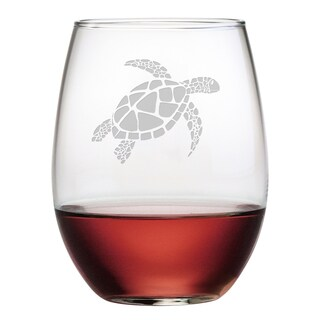 Sea Turtle Stemless Wine Glasses (Set of 4)
