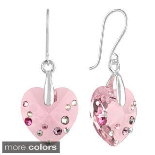 Sunstone Silverplated Brass Faceted Crystal Heart Earrings in Gift Box