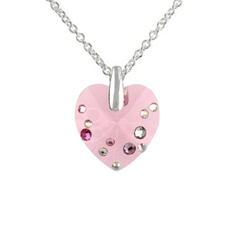 Sunstone Silverplated Brass Faceted Crystal Heart Necklace with Gift Box