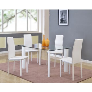 Somette Reyna Tempered Glass White Dining Set (Set of 5)