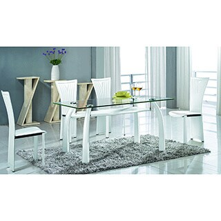 Somette Regan Glass Dining Set with White Chairs (Set of 5)